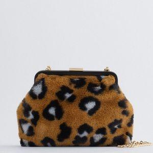 NWOT ZARA Animal Print Crossbody Bag With Clasp